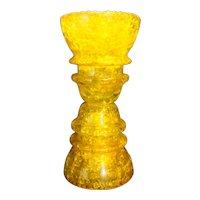 Hemingray 42 Yellow Crackle Glass Insulators Candle Holder