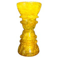 Hemingray 42 Yellow Crackle Glass Insulators Candle Holder