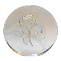 Viking Art Glass Rose Intaglio Cut Frosted Paperweight Disc