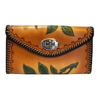 Tooled Leather Clutch Purse Western Roses