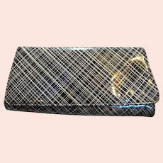 Plaid Patent Vinyl Clutch Purse Black Pink Cream