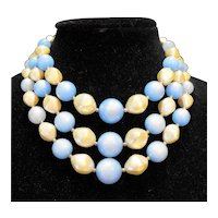 Blue Moonglow Faux Pearl Triple Strand Necklace