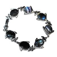 Abalone Fish Link Bracelet Silver Tone
