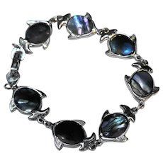 Abalone Fish Link Bracelet Silver Tone