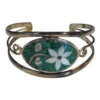 Sterling Abalone Inlay Cuff Bracelet Mexico