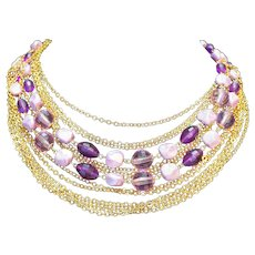 Coro Purple Nugget Disco Ball Beads Gold Chains 14 Strands Necklace