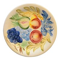 Bright Hand Painted Fruit Embossed Plate Pottery Japan