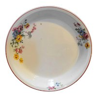 Pottery Guild Bake Oven Floral Pie Plate Red Trim