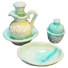 Avon Victorian Rose Green Jadeite Swirl Glass Set 4 Pcs