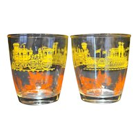 Hazel Atlas Vintage Transportation Yellow Orange Tumblers Sour Cream