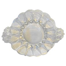 New Martinsville Janice Clear Depression Glass Elegant Tab Handle Small Plate