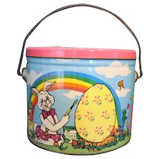 Easter Bunny Egg Metal Bucket Pail