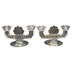 Fostoria American Double Light Flat Foot Candle Holders Pair