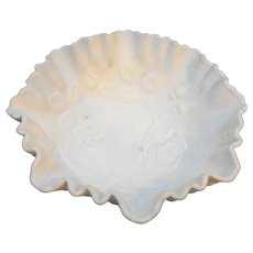Imperial Open Rose Doeskin Satin Milk Glass Ruffled Bowl