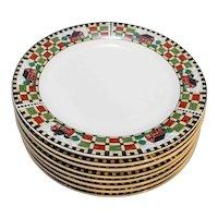 Sakura Homestead Green Red Check Barns Dinner Plates Set of 8