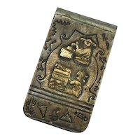 TA Begay Navajo Storyteller Money Clip Sterling 12K Gold Filled