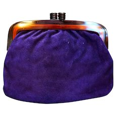 Deep Purple Suede Clutch Purse Lucite Frame Vanessa Made in Italy