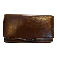 Brown Vinyl Wallet Clutch Purse Made in Japan