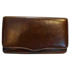 Brown Vinyl Wallet Clutch Purse Made in Japan