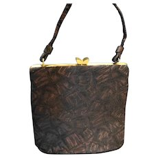 Brown Jacquard Woven Squares Abstract Purse