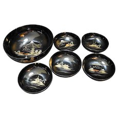 Aizu Japan Lacquerware Lacquer Ware Salad Set Black Gold