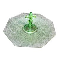 Fostoria Paradise Brocade Fleur De Lis Center Handle Tidbit Sandwich Tray