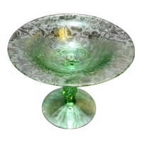 Fostoria Paradise Brocade Twist Stem Compote Green Depression