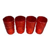 Morgantown Crinkle Ruby Red 12 Oz Flat Tumblers Set of 4