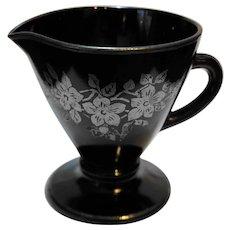 Hazel Atlas Ovide Black Sterling Floral Overlay Creamer
