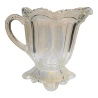 Early American Pattern Glass Cream Milk Pitcher Stippled Triple Leaf