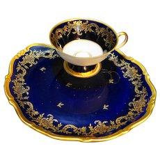 Weimar Echt Cobalt Dora Shape Snack Set Gold Decoration