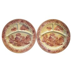 Red Willow Grill Plates Pair Made in Japan