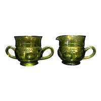 Indiana Glass King's Crown Avocado Green Creamer Sugar Pair