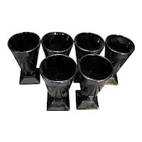 Tiara Exclusives Indiana Glass Pyramid Black 12 Oz Tumblers Set of 6