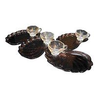 Hazel Atlas Moroccan Amethyst Shell Snack Set 4 Trays 4 Clear Cups