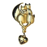 AJC Cats Moon Heart Gold Tone Pin