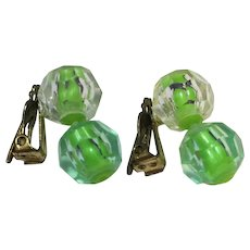 Clear Green Faceted Plastic Beads Clip Earrings