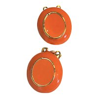 Orange Enamel Oval Clip Earrings