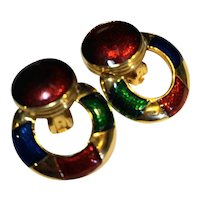 Red Blue Green Gold Tone Enamel Clip Button Hoop Doorknocker Earrings
