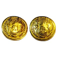 Emperor Justinian Faux Coin Earrings Byzantine Revival Gold Tone Clips