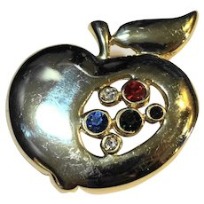 Gold Tone Rhinestone Apple Pin Brooch