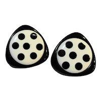 Black White Triangle Circle Polka Dot Earrings