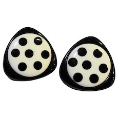 Black White Triangle Circle Polka Dot Earrings