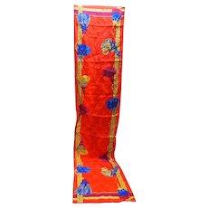 Red Tassel Print Scarf Jacquard Oblong