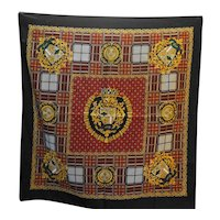 Shields Crests Black Polyester Scarf Made in Italy