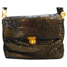 Black Disc Mesh Purse Shoulder Bag