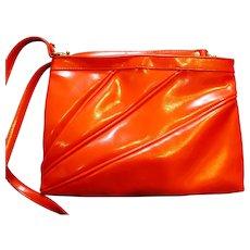 Red Vinyl Purse Clutch Shoulderbag Diagonal Pleats