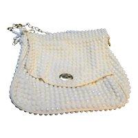 Mister Ernest Simon Handbag White Plastic Bead Purse Hong Kong