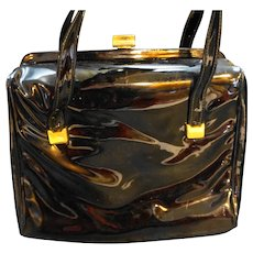 Crown Lewis Black Patent Purse Handbag Structured Box