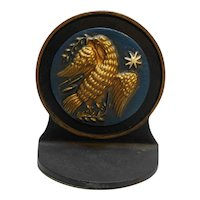Cast Iron Eagle Bookend Doorstop Gold Handpainted